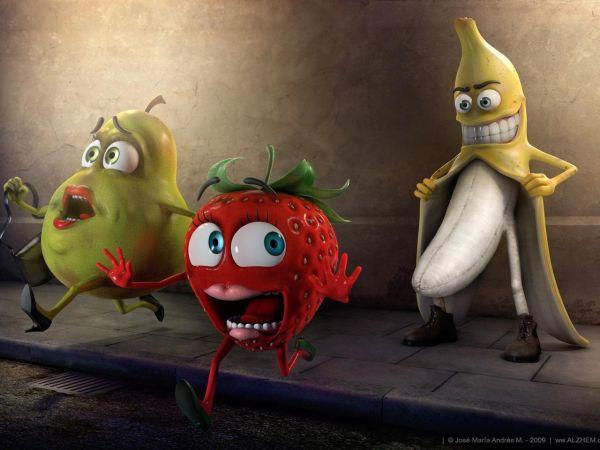 fonds-ecran-poire-fraise-banane-56 dans fond ecran drole