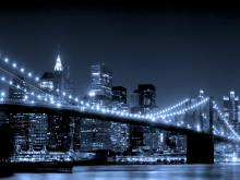 Pont de Brooklyn de nuit